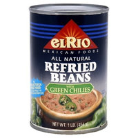 El Rio Beans Refried with Green Chili, 16-Ounce (Pack of 12)