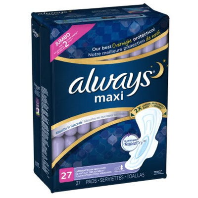 Always Maxi Heavy Overnight Pads - 27 Count