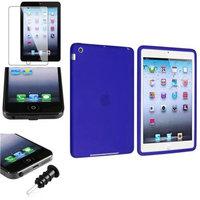 Insten iPad Mini 3/2/1 Case, by INSTEN 4 in 1 Dark Blue Silicone Case Cover Protector Guard Headset Cap for iPad Mini 1/2/3