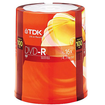 TDK Electronics 48520 DVD-R 16x 100 pk spindle