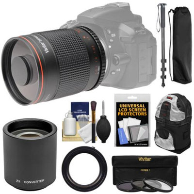Vivitar 500mm f/8.0 Mirror Lens with 2x Teleconverter (=1000mm) + Monopod + Backpack + 3 Filters Kit for Nikon D3200, D3300, D5200, D5300, D7000, D7100, D610, D750, D800, D810 Camera
