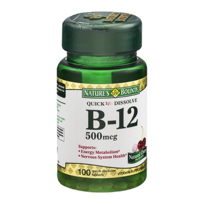 Nature's Bounty Quick Dissolve B-12 500mcg Tablets Natural Cherry Flavor - 100 CT