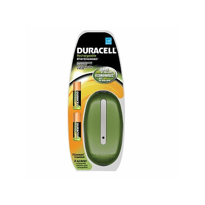 Duracell Mini Color Charger with 2 AA StayCharged Batteries