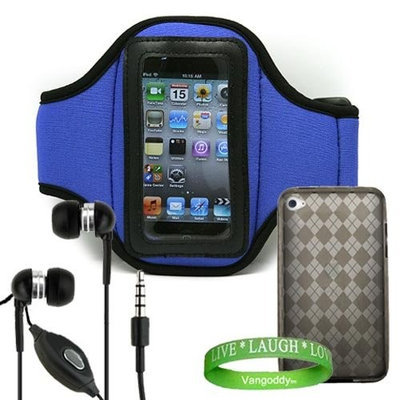 Apple iPod Touch 4th Generation Accessories Kit: Dark Blue Exercise Neoprene Armband + Smoke Crystal TPU Argyle Skin + No- hands iPod Touch 4th Generation Earphones with microphone + VG Live * Laugh * Love Wrist Band!!!
