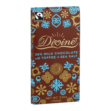 Divine Chocolate 38% Milk Chocolate with Toffee & Sea Salt