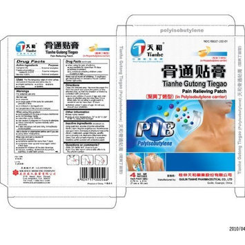 Tianhe Guteng Tiegao Pain Relieving Patch - 10 Patches (2.75 x 4 in) Pack