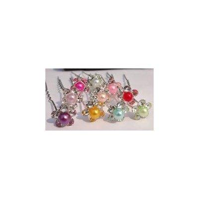 BRIDAL Crystal Small Pearl Hair Pins, Wedding Party Hair Accessories, Bride Bridesmaid Hair Clips 5 PCS pale green