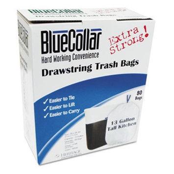 BlueCollar Drawstring Trash Bags, 13 gal, .80 mil, 24 x 28, White, 80/Box