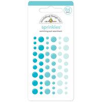 Doodlebug MONOS-4010 Monochromatic Sprinkles Glossy Enamel Sticker Dots 54-Pkg-Swimming Pool