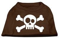 Mirage Pet Products 51-86 XSBR Skull Crossbone Screen Print Shirt Brown XS - 8