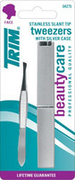 Trim Stainless Slant Tip Tweezers With Silver Case Pack Of 6
