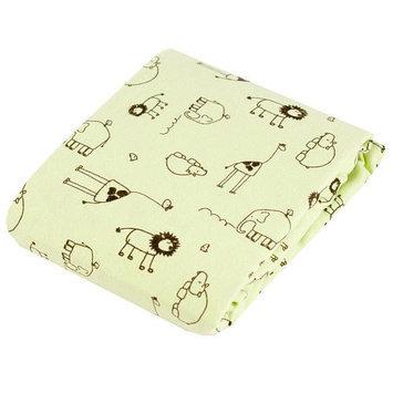 Kushies Baby Kushies 100% Cotton Flannel Fitted Crib Sheet - Green Safari Print