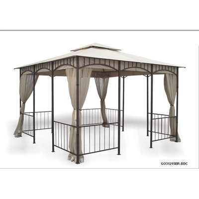 Dc America DC America GO31215BR-BDC-GM Gazebo with Insect Screen: GO31215BR-BDC