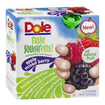 Dole Fruit Squish'ems! Squeezable Fruit Pouch Apple Mixed Berry