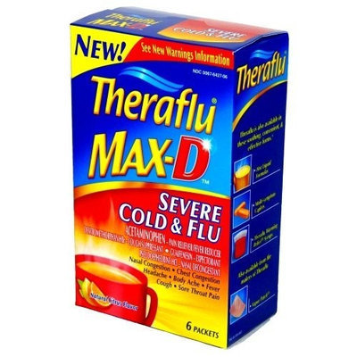 Theraflu Max-D Severe Cold & Flu Natural Citrus Flavor - 1 Box Containing 6 Packets