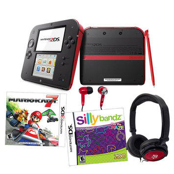 Current's Tackle Nintendo 2DS Red Mariokart 7 Bundle with Silly Bandz & Accessories