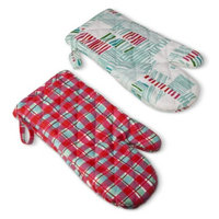 Oh Joy! Abstract Stripe and Pink Plaid Oven Mitt 2ct