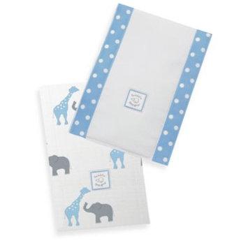 Swaddle Designs Safari Fun Baby Burpies in Blue (Set of 2)