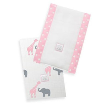 Swaddle Designs Safari Fun Baby Burpies in Pink (Set of 2)
