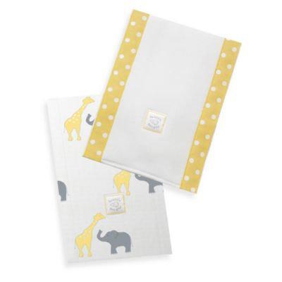 Swaddle Designs Safari Fun Baby Burpies in Yellow (Set of 2)