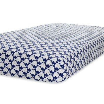 Triboro Just Born Elephants Crib Sheet Color: Navy / White