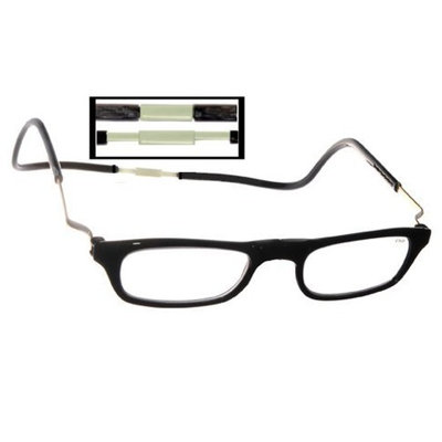 CliC XXL Adjustable Front Magnetic Connect Expandable Reading Glasses; Black