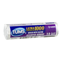 Tums Ultra Strength 1000 Chewable Antacid Tablets Assorted Berries - 12 CT