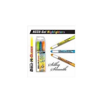 G T Luscombe 127247 Highlighter Accu Gel Bible Hi Glider 3 Pk Yellow With Blue Orange