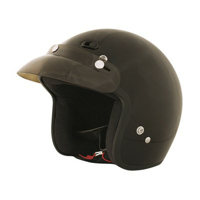 Fuel Vented Open-Face Helmet with Visor Gloss Black Large