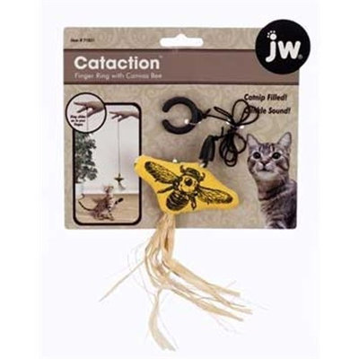 JW Pet Company Cataction Canvas Bee with Finger Ring, Cat Toy, Yellow