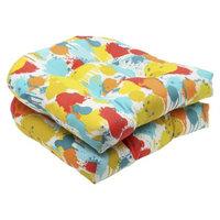 Pillow Perfect Outdoor 2-Piece Wicker Seat Cushion Set - Blue/Yellow Neddick