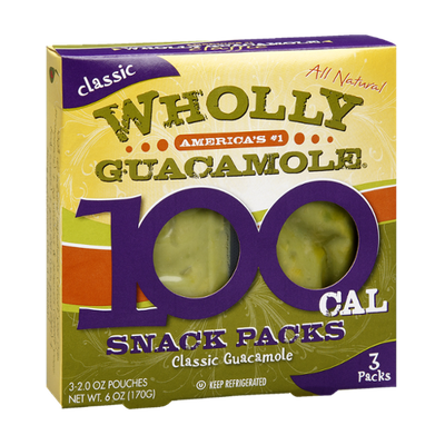 Wholly Guacamole Classic Guacamole 100 Cal Snack Packs