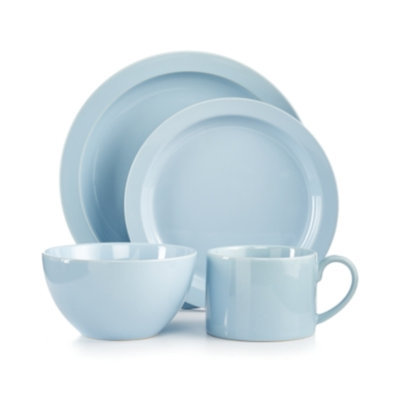 Martha Stewart Collection Harlow Shaker Blue Round 4-Piece Place Setting