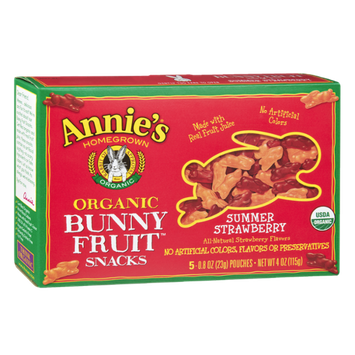 Annie's Homegrown Organic Bunny Summer Strawberry Fruit Snacks - 5 CT