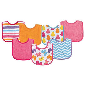 Baby Vision Luvable Friends 7 Pack Bright Print Baby Bibs - Pink