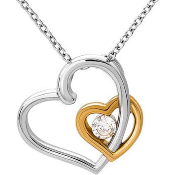 Connections from Hallmark Clear CZ Two-Tone Stainless Steel Double-Heart Pendant