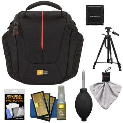 Case Logic DCB-304 High Zoom Digital Camera Holster Bag (Black) with Deluxe Photo/Video Tripod + Nikon Cleaning Kit