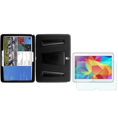 Insten INSTEN For Samsung Galaxy Tab 4 10.1 Side Hybrid Stand Case+Screen Protector Black/Black