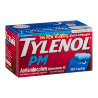 Tylenol PM Extra Strength Pain Reliever Nighttime Sleep Aid Caplets - 100 CT