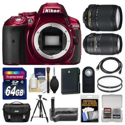 Nikon D5300 Digital SLR Camera Body (Red) with 18-140mm & 55-300mm VR Zoom Lens + 64GB Card + Case + Grip + Battery + Tripod Kit