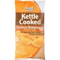 Great Value Kettle Cooked Crinkle Cut Cheddar Horseradish Potato Chips, 8 oz