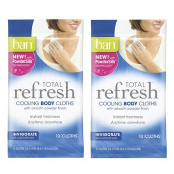 ban Ban Total Refresh Cooling Body Cloths - Invigorate - 2 pack