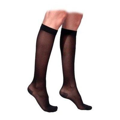 Sigvaris 770 Truly Transparent 30-40 mmHg Women's Closed Toe Knee High Sock Size: Large Long, Color: Black Mist 14