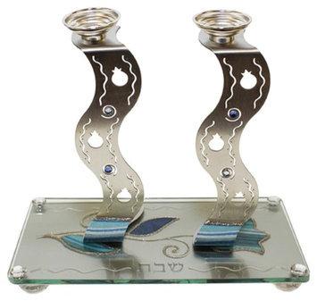 Artsy Casa Ultimate Judaica Candle Stick w/ Tray Applique - Ocean Blue- Tray 9 3/4W X 5 L Candle Sticks 7H