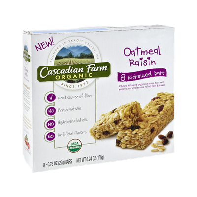 Cascadian Farm Organic Oatmeal Raisin Granola Bars - 8 CT