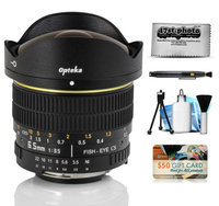 Opteka 6.5mm f/3.5 HD Aspherical Fisheye Lens with Removable Hood and Cleaning Bundle for Nikon D4S, DF, D4, D3X, D810, D800, D750, D610, D600, D7100, D7000, D5500, D5300, D5200, D5100, D3300, D3200 and D3100 Digital SLR Cameras
