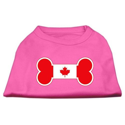 Mirage Pet Products 5110 SMBPK Bone Shaped Canadian Flag Screen Print Shirts Bright Pink S 10