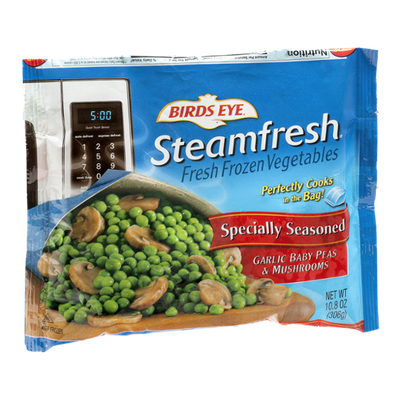 Birds Eye Steamfresh Specially Seasoned Garlic Baby Peas & Mushrooms