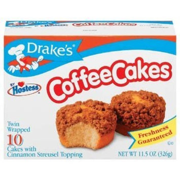 Drakes Drake's by Hostess 10 ct Coffee Cakes with Cinnamon Streusel Topping 11.5 oz (Pack of 6)
