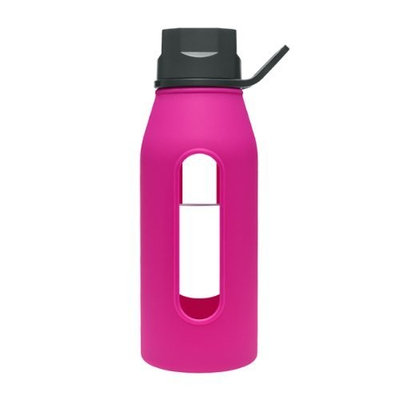 Takeya Classic Glass Water Bottle with Silicone Sleeve, Black/Fuchsia, 16-1/2-Ounce